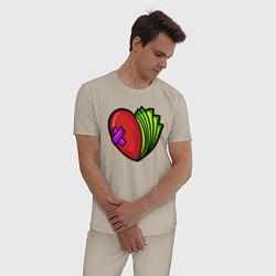 Пижама хлопковая мужская Деньги или Любовь цвета миндальный — фото 2