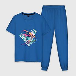 Пижама хлопковая мужская Горные Лыжи - Горнолыжник цвета синий — фото 1