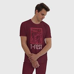 Пижама хлопковая мужская T-FEST цвета меланж-бордовый — фото 2