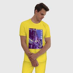 Пижама хлопковая мужская Neon Asian Street Vaporwave цвета желтый — фото 2