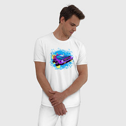 Пижама хлопковая мужская Delorean color цвета белый — фото 2