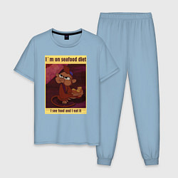 Пижама хлопковая мужская Seafood Diet цвета мягкое небо — фото 1