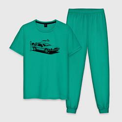 Пижама хлопковая мужская DeLorean цвета зеленый — фото 1