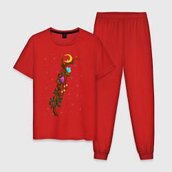 Пижама хлопковая мужская Магический жезл цвета красный — фото 1