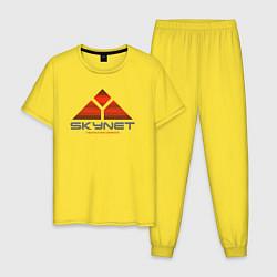 Пижама хлопковая мужская Skynet цвета желтый — фото 1