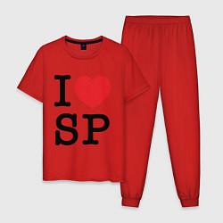 Пижама хлопковая мужская ЛЮБЛЮ ПИТЕР цвета красный — фото 1