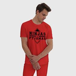 Пижама хлопковая мужская Ninjas In Pyjamas цвета красный — фото 2