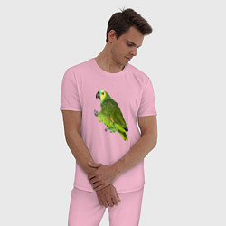 Пижама хлопковая мужская Попугайчик цвета светло-розовый — фото 2