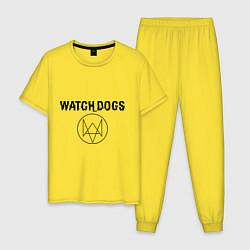 Пижама хлопковая мужская Watch Dogs цвета желтый — фото 1