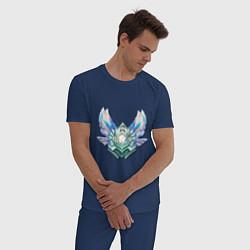 Пижама хлопковая мужская Эмблема бриллиант цвета тёмно-синий — фото 2