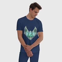 Пижама хлопковая мужская Эмблема платина цвета тёмно-синий — фото 2