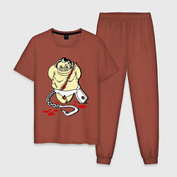 Пижама хлопковая мужская Пуджик Мясник цвета кирпичный — фото 1