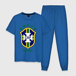 Пижама хлопковая мужская Brasil CBF цвета синий — фото 1