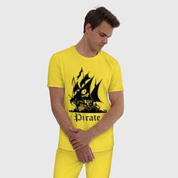Пижама хлопковая мужская Пират цвета желтый — фото 2
