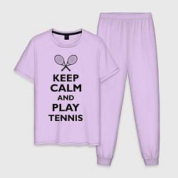Пижама хлопковая мужская Keep Calm & Play tennis цвета лаванда — фото 1
