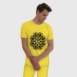 Пижама хлопковая мужская Защитная руна цвета желтый — фото 2