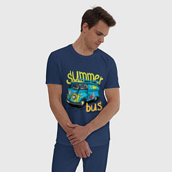 Пижама хлопковая мужская Summer bus цвета тёмно-синий — фото 2