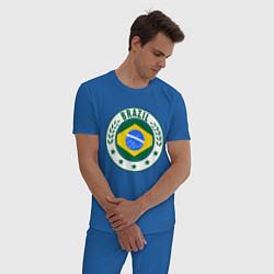 Пижама хлопковая мужская Brazil 2014 цвета синий — фото 2