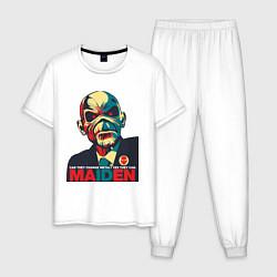 Пижама хлопковая мужская Iron Maiden цвета белый — фото 1