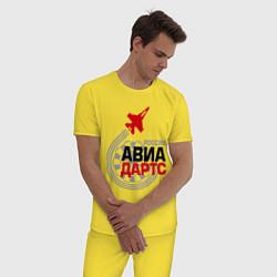 Пижама хлопковая мужская Авиадартс Россия цвета желтый — фото 2