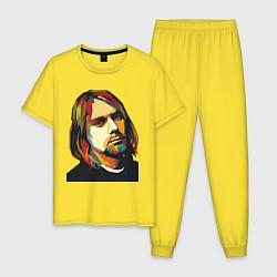 Пижама хлопковая мужская Курт Кобейн: фан-арт цвета желтый — фото 1