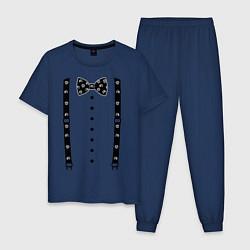 Пижама хлопковая мужская Галстук бабочка с черепами цвета тёмно-синий — фото 1
