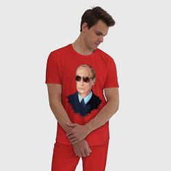 Пижама хлопковая мужская Путин в очках цвета красный — фото 2