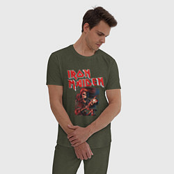 Пижама хлопковая мужская Iron Maiden цвета меланж-хаки — фото 2