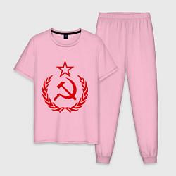 Пижама хлопковая мужская СССР герб цвета светло-розовый — фото 1