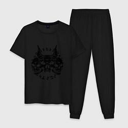 Пижама хлопковая мужская Демонический черепа цвета черный — фото 1