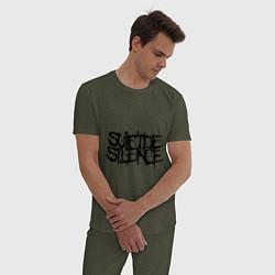 Пижама хлопковая мужская Suicide Silence цвета меланж-хаки — фото 2