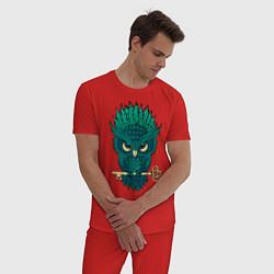 Пижама хлопковая мужская Сова с ключом цвета красный — фото 2