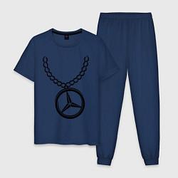 Пижама хлопковая мужская Мерседес медальон цвета тёмно-синий — фото 1
