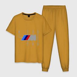 Пижама хлопковая мужская БМВ М: Коробка передач цвета горчичный — фото 1