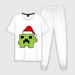 Пижама хлопковая мужская Minecraft: New Year цвета белый — фото 1