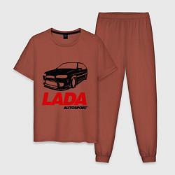 Пижама хлопковая мужская LADA Autosport цвета кирпичный — фото 1