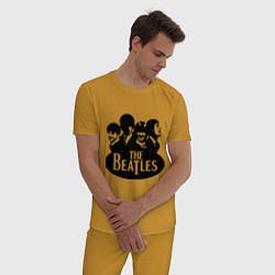 Пижама хлопковая мужская The Beatles Band цвета горчичный — фото 2
