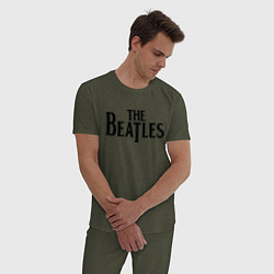 Пижама хлопковая мужская The Beatles цвета меланж-хаки — фото 2