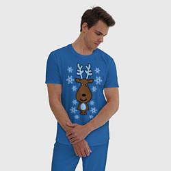 Пижама хлопковая мужская Милый олень и снежинки цвета синий — фото 2