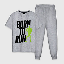 Пижама хлопковая мужская Рожден для бега цвета меланж — фото 1