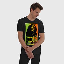 Пижама хлопковая мужская Bob Marley: Jamaica цвета черный — фото 2