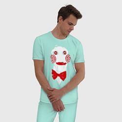 Пижама хлопковая мужская Пила цвета мятный — фото 2