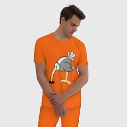 Пижама хлопковая мужская Влюбленный страус: для него цвета оранжевый — фото 2