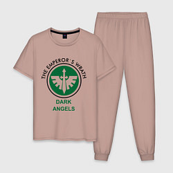 Пижама хлопковая мужская Темные Ангелы цвета пыльно-розовый — фото 1