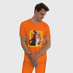 Пижама хлопковая мужская Asuna & Kirito цвета оранжевый — фото 2