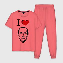 Пижама хлопковая мужская I love Putin цвета коралловый — фото 1