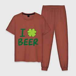 Пижама хлопковая мужская Love beer цвета кирпичный — фото 1