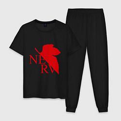 Пижама хлопковая мужская Евангелион NERV цвета черный — фото 1