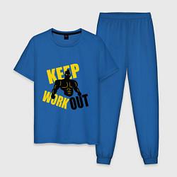 Пижама хлопковая мужская Keep workout тренируйся цвета синий — фото 1