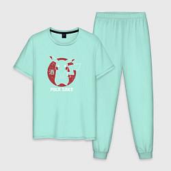 Пижама хлопковая мужская Pika Sake цвета мятный — фото 1